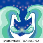 a pair of dolphins touch fins | Shutterstock .eps vector #1643560765