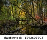 Daytime photo of Cobus Creek in Elkhart, Indiana in autumn with bridge in the background and surrounding forest with beautiful fall colors in the trees