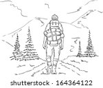 vector - hiker on the trip , mountains path