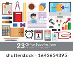office supplies icon collection ... | Shutterstock .eps vector #1643654395