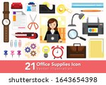 office supplies icon collection ... | Shutterstock .eps vector #1643654398