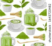 cups of match tea and coffee... | Shutterstock .eps vector #1643723482