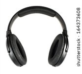 Black Headphones Isolated Over...