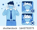 the proper way of wearing face... | Shutterstock .eps vector #1643753575