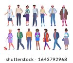 a group of people standing on a ...   Shutterstock .eps vector #1643792968