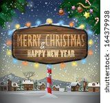 vector merry christmas and... | Shutterstock .eps vector #164379938
