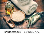 spa setting with natural olive... | Shutterstock . vector #164380772