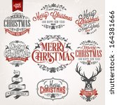 christmas retro icons  elements ...