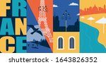 France vector banner, illustration. City skyline, historical buildings in modern flat design style. French ancient landmarks in Paris and other areas