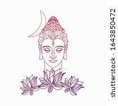 shiva head silhouette  over... | Shutterstock .eps vector #1643850472