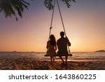 Honeymoon Travel  Silhouette Of ...