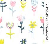 Abstract Folk Flowers Vector...