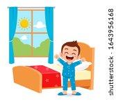 happy cute little kid boy wake... | Shutterstock .eps vector #1643956168