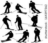 mountain skier  man speeding... | Shutterstock .eps vector #164397362