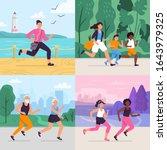 cartoon running workout. runner ... | Shutterstock .eps vector #1643979325