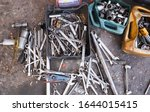 Small photo of Kuala Lumpur/Malaysia - February 13, 2020: Wrenches, spanners, air gun and many other tools used by a mechanic to do the job