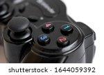 Gamepad wireless joystick buttons view. Wireless gamepad buttons close view. Gamepad buttons macro