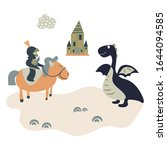 Cartoon Knight On A Horse Meets ...