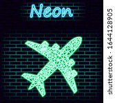 neon airplane icon isolated on...