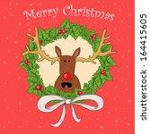 christmas wreath with a deer | Shutterstock . vector #164415605