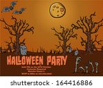 halloween party poster template ... | Shutterstock .eps vector #164416886