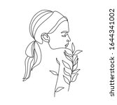 woman nature line drawing. girl ... | Shutterstock .eps vector #1644341002