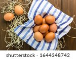 Brown Chicken Eggs With Cloth...