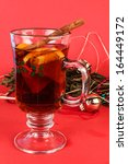 Small photo of Gluhwein is popular beverage in Holiday Season. Also called Mulled wine when heated and seasoned with fruits ahd herbs.