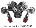 v8 car engine isolated on white ... | Shutterstock . vector #164458148