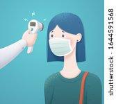 woman measuring body... | Shutterstock .eps vector #1644591568