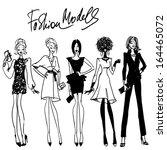 fashion models. hand drawn...   Shutterstock .eps vector #164465072