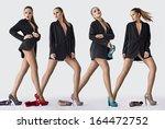 girl in black coat and... | Shutterstock . vector #164472752