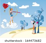 cupid aims with his bow at a... | Shutterstock .eps vector #164473682