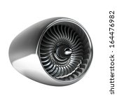 Jet Engine Isolated On White...