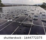 Drops Of Rain On A Solar Panel