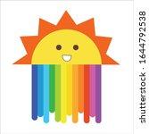 sunshine and rainbow pattern ... | Shutterstock .eps vector #1644792538