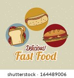 fast food over dotted... | Shutterstock .eps vector #164489006