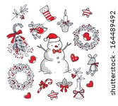christmas set | Shutterstock .eps vector #164489492