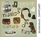 hipster design over vintage... | Shutterstock .eps vector #164491685