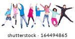 group of children jumping... | Shutterstock . vector #164494865