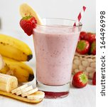 strawberry banana smoothie made ... | Shutterstock . vector #164496998