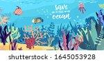 underwater world in the ocean.... | Shutterstock .eps vector #1645053928