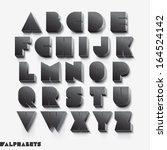 3d alphabet black color. vector ... | Shutterstock .eps vector #164524142