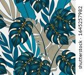 trendy seamless tropical... | Shutterstock .eps vector #1645257982