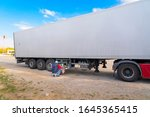 Kirikkale/Turkey-October 27 2019: Truck driver takes a break in his portable kitchen with cupboards of food while resting - stock photo