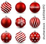 Red Christmas Balls On White...
