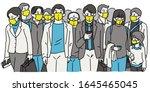crowd walking pedestrain people ... | Shutterstock .eps vector #1645465045