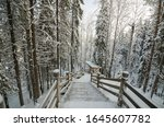 Large Wooden Staircase In A...