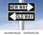 conceptual one way road signs... | Shutterstock . vector #164564126