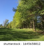 Beautiful sunny day in Goshen, New Hampshire, with a blue sky and green grass.
